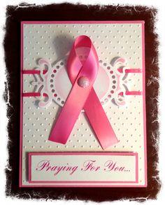 Pink ribbon handmade card