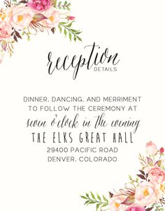 Watercolor Boho Wedding Invitation Suite DEPOSIT by SplashOfSilver