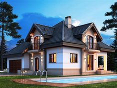 Projekt domu Opałek K 2G 136,8 m2 - koszt budowy 245 tys. zł - EXTRADOM American Style House, Front Porch Design, Small Cottages, Dream House Exterior, Country House Plans, Dream Home Design, Facade House, Home Fashion, Luxury Furniture