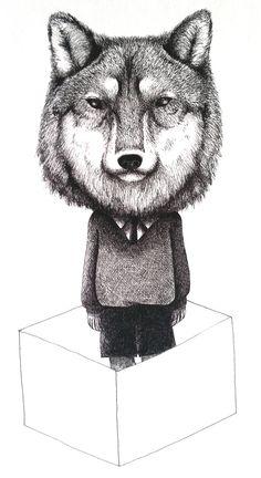 wolf boy I drew with a pen . by mayuko