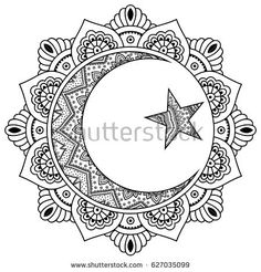 hippie tattoo 626844841862931165 - Circular pattern in form of mandala for Henna, Mehndi, tattoo, decoration. Decorative ornament in oriental style with Religious Islamic symbol of Star and Crescent. Coloring book page. Star Coloring Pages, Adult Coloring Book Pages, Mandala Coloring Pages, Coloring Books, Colouring, Mandalas Painting, Mandalas Drawing, Moon Mandala, Mandala Art