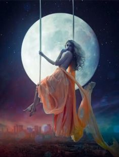 Elegant woman over large moon background Stock Photo , Beautiful Fantasy Art, Beautiful Gif, Angel Pictures, Love Pictures, Gif Bonito, I Love You Animation, Beautiful Women Videos, Animated Love Images, Amazing Gifs
