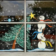 Tis the season...painting holiday cheer all over southland! California artist who lives in Los Angeles | holiday window painting | goalgraphics | GraphicDesigner | machelstudios
