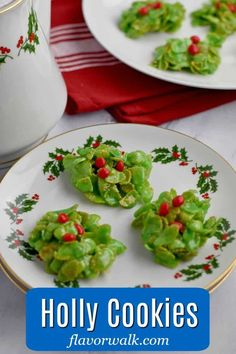 These festive no-bake Holly Cookies are an easy addition to your holiday dessert platter or Christmas cookie tray. The bright green cookies topped with red candies look like pieces of holly. Gluten Free Christmas Recipes, Gluten Free Christmas Cookies, Gluten Free Sugar Cookies, Gluten Free Peanut Butter, Holiday Desserts, Holiday Recipes, Gluten Free Marshmallows, Dessert Platter, Blossom Cookies