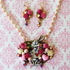 White Rabbit Necklace Set http://www.etsy.com/listing/68845688/stunng-swarovski-crystal-alice-in?ref=v1_other_2