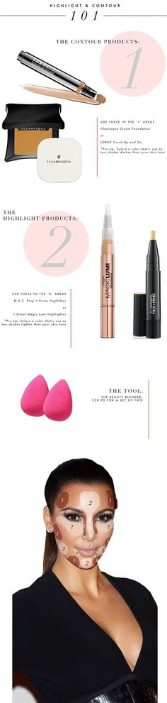 How to contour and highlight your face 101  #Beautyproducts #KimKardashian #Beautytips - Bellashoot.com