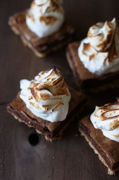 {S'more squares with smoked marshmallow fluff.}