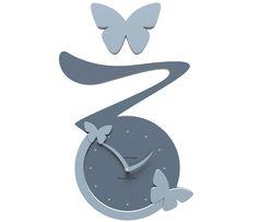 Wanduhr Butterfly - blau - Callea
