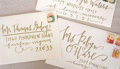 Items similar to Wedding Calligraphy Envelope Addressing - Gold Modern Calligraphy - Wedding Invitations on Etsy Envelope Lettering, Calligraphy Envelope, Envelope Art, Wedding Calligraphy, Envelope Address Template, Beautiful Calligraphy, Learn Calligraphy, Modern Calligraphy, Wedding Envelopes