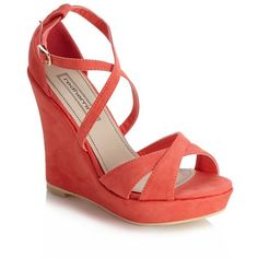 Coral cross over strap high wedge sandals ($23) ❤ liked on Polyvore featuring shoes, sandals, wedges, heels, обувь, women's clothing, strappy sandals, coral heeled sandals, coral wedge sandals and wedges shoes