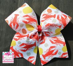 Crawfish Cheer Bow!! by LivinTheBowLife on Etsy