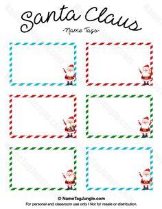 Printable Santa Claus Name Tags Christmas Name Tags, Christmas Gift Tags Printable, Free Christmas Printables, Xmas, Christmas Stuff, Christmas Ideas, Merry Christmas, Secret Santa Templates, Name Tag Templates