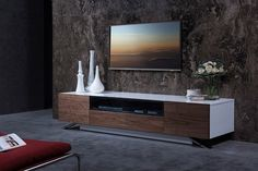 Modrest Gillian Contemporary White & Walnut TV Stand by VIG Furniture
