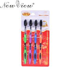 4 Pcs/Set Sikat Gigi Bambu Arang Sikat Gigi Kebersihan mulut Perawatan Lembut
