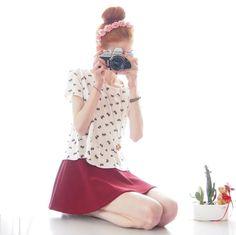 Shop this look on Kaleidoscope (skirt, shirt)  http://kalei.do/X4O8bSdTt59WdAIU #fashion
