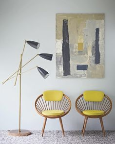 mid century lamp and chairs