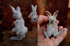 "Image of Penelope, 3 1/4"" tall  Miniature Artist Rabbit from Aerlinn Bears"