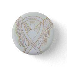 Osteoporosis Awareness Angel White Ribbon Art Pin