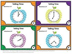 FREE Telling Time in One, Five & Fifteen Minute Intervals - You will receive 6 telling time task cards for your students to practice telling time. A student response form and answer key are also provided.