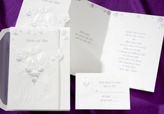 Wedding Invitations loving couple are surrounded by a heart made of purple roses by Wedding Invitations -The Office Gal
