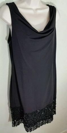 ELIE TAHARI Black Drape Neck Sleeveless Dress Sequin Ebellished Bottom Sz L EUC #ElieTahari #Shift #LittleBlackDress