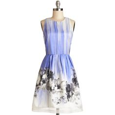 Blissful Brushstrokes Dress (2,360 MXN) ❤ liked on Polyvore featuring dresses, a-line, sleeveless, print, party, mid-length, floral, daytime party, blue and woven