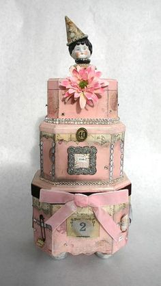 Fanciful Mixed Media Cake--start with wooden boxes and FLY!