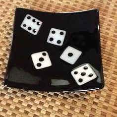 Fused glass dice plate  would be neat as a bunco plate (3 dice)