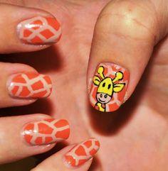 nageldesign muster fingernägel design giraffe
