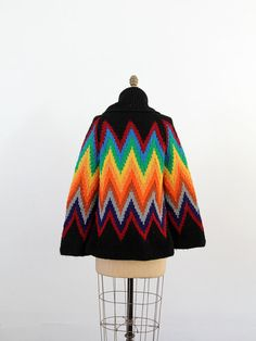 Your place to buy and sell all things handmade Rainbow Cardigan, Chunky Cardigan, Zig Zag Pattern, Roll Neck, Chevron, 1970s, Crochet Hats, Vibrant, Knitting