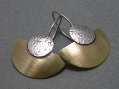 Brushed Brass Fan Earrings, Mixed Metal Sterling Silver and Brass Earrings, Handmade Earrings, Artisan Hand Forged Jewelry by stoneandsterling on Etsy https://www.etsy.com/listing/31707787/brushed-brass-fan-earrings-mixed-metal