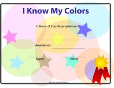 I Know My Colors Printable Certificate Preschool Colors, Free Preschool, Craft Activities For Kids, Preschool Activities, Kids Crafts, Preschool Certificates, Printable Certificates, Award Certificates, Perfect Attendance Certificate