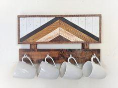 Omar - mug rack. angled art mug rack. coffee mug hanger. Wooden Painting, Wooden Wall Art, Wood Wall, Wood Home Decor, Wall Decor, His And Hers Towels, Lumber Storage, Tool Storage, Woodworking Projects