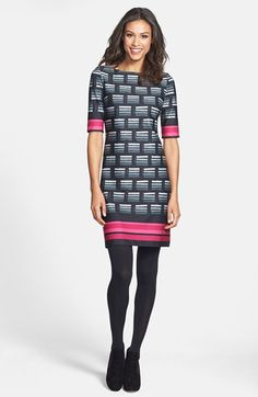Mad Men Style - Eliza J Print Ponte Knit Shift Dress