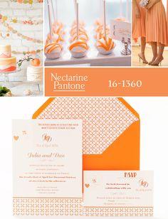 Invitación de boda en color Nectarine. azulsahara