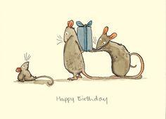 Happy Birthday - Carte (a Two Bad Mice) par Anita Jeram Animal Drawings, Cute Drawings, Anita Jeram, Pet Mice, Children's Book Illustration, Whimsical Art, Cute Art, Illustrators, Character Design