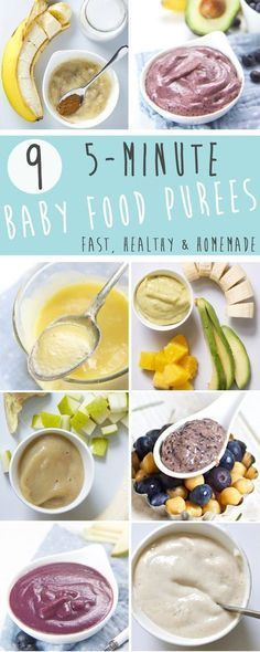 These 9 5-Minute Baby Food Puree Recipes are fast, healthy and completely homemade! They are perfect for moms that make everything from scratch, the moms just trying to survive the day and the moms that never thought about making their own baby food. Whatever type of mom you are, these 9 baby food purees have your back! #FoodForBaby