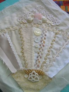 Crazy Quilt Stitches | crazy quilting & embroidery . . . White on White Fan- ~By ...