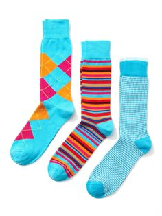 Houndstooth, Argyle, and Stripe Socks (3 Pack) by Clapham at Gilt