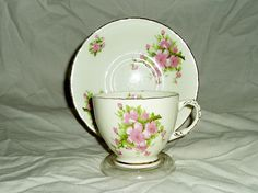 vintage Sutherland china teacup and saucer green floral pattern 2603
