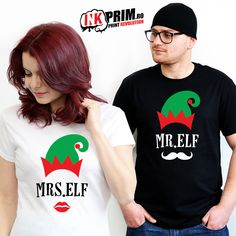 Tricouri pentru cupluri imprimate cu modele de Craciun Mr si Mrs Elf