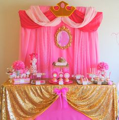Sleeping Beauty Party - Disney Princess Party - Aurora Party - COMPLETE - Girls Birthday - Ladies - Woman - Bridal Shower - Pink Princess - possible trunk or treat ideas Pink Princess Party, Disney Princess Birthday, Baby Shower Princess, Girl Birthday, Birthday Parties, Birthday Table, Princess Theme, Princess Sophia, Birthday Ideas