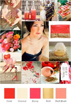 I Made Some More Inspiration Boards for Your Viewing Pleasure!!  Whatcha Think? :  wedding inspiration boards My Pink Coral Gold Inspiration Board1