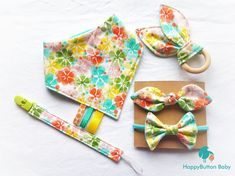 """Beautiful new set available at my #etsy shop - Nothing says """"Hello Spring!"""" like a bright, fun floral. #accessories #babyshower #easter #floralbabyshower #babygirlgiftset #babyshowergift #spring #springflowers #babyfashion #smallbusinesslove #supportlocalyyt #handmadeinnewfoundland http://etsy.me/2FjmQQS"""