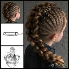 French braids, a rope twist braid and a three strand pull through braid with a cool hairclip from the webshop www.goudhaartje.nl (worldwide shipping).   Credits three strand pull through braid: @prettylittlebraids (instagram)   #hair #hairstyle #braid #braids #plait #trenza #peinando #beautifulhair #longhair #stunninghair #punk #rock #gorgeoushair  #hairaccessories #hairinspo #braidideas  #cornrows #coolhair #messyhair #goudhaartje