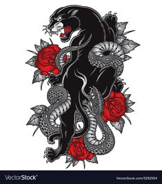Panther with snake tattoo graphic vector image on VectorStock Stomach Tattoos, Leg Tattoos, Black Tattoos, Bird Tattoos, Animal Tattoos, Tatoos, Jaguar Tattoo, Tattoo Snake, Tiger Tattoo