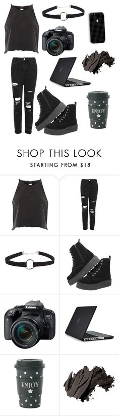 """Goth photographer// blogger"" by briannavaughn2004 ❤ liked on Polyvore featuring River Island, Topshop, Eos, Speck, Miss Étoile and Bobbi Brown Cosmetics"