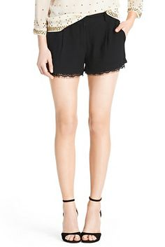 DVF | The Yara is a classic trouser short with an unexpected lace trim. http://on.dvf.com/1b8ZGai