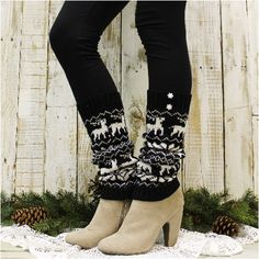 Our cozy knit black reindeer and snowflake leg warmers were inspired by great Scandinavian snowflake ski sweaters. Our lovely knit leg warmers can be worn over or under fitted boots. Reindeer and snow