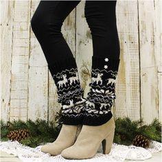 REINDEER ROMP snowflake leg warmers - black